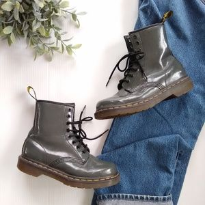 Dr Martens • 1460 patent leather gray combat boots